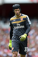 Goalkeeper Petr Cech of Arsenal looking on. Barclays Premier League, Arsenal v West Ham Utd at the Emirates Stadium in London on Sunday 9th August 2015.<br /> pic by John Patrick Fletcher, Andrew Orchard sports photography.