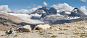 Hikers on the Iceline Trail rest and enjoy Waputik Icefield and Daily Glacier, in Yoho National Park, British Columbia, Canada. Yoho is part of the Canadian Rocky Mountain Parks World Heritage Site declared by UNESCO in 1984. Panorama stitched from 3 images.