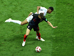 July 11, 2018 - Moscow, Russia - July 11, 2018, Moscow, FIFA World Cup 2018 Football, the playoff round. 1/2 finals of the World Cup. Football match Croatia - England at the stadium Luzhniki. Player of the national team Josip Pivaric (22), Markus Rashford  (Credit Image: © Russian Look via ZUMA Wire)