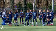 BILTHOVEN -  Hoofdklasse competitiewedstrijd dames, SCHC v hdm, seizoen 2020-2021.<br /> Foto: Laatste toespraak voor de wedstrijd bij hdm