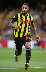"""Watford's Andre Gray during the Premier League match at Vicarage Road, Watford PRESS ASSOCIATION Photo. Picture date: Saturday September 15, 2018. See PA story SOCCER Watford. Photo credit should read: Nigel French/PA Wire. RESTRICTIONS: EDITORIAL USE ONLY No use with unauthorised audio, video, data, fixture lists, club/league logos or """"live"""" services. Online in-match use limited to 120 images, no video emulation. No use in betting, games or single club/league/player publications."""