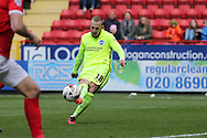 Jiri Skalak of Brighton & Hove Albion scores his sides 2nd goal to make it  1-2. Skybet football league championship match, Charlton Athletic v Brighton & Hove Albion at The Valley  in London on Saturday 23rd April 2016.<br /> pic by John Patrick Fletcher, Andrew Orchard sports photography.