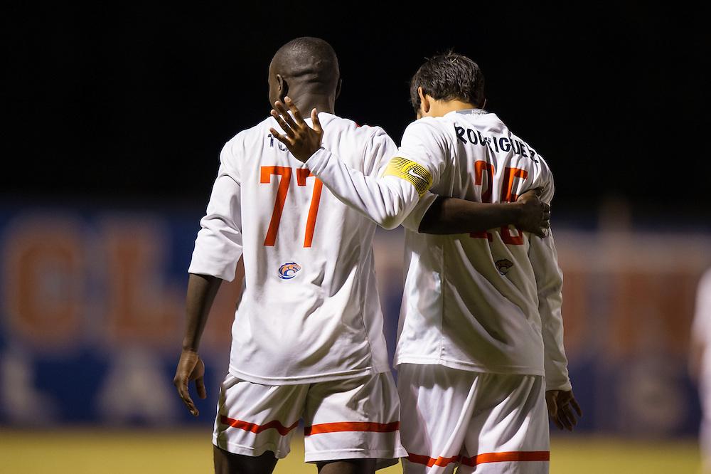 Oct 23, 2013; Morrow, GA, USA; Clayton State men's soccer players Alhagi Toure and Kevin Rodriguez against Georgia Southwestern at CSU. CSU won 3-2. Photo by Kevin Liles/kevindliles.com