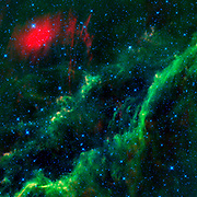 This infrared image from NASA's WISE features one of the bright stars in the constellation Perseus, named Menkhib, along with a large star-forming cloud NGC 1499, or the California nebula.