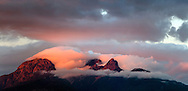 Glowing sunset clouds clear off the Golden Ears (Mount Blanshard) at sunset in the Coast Mountains of British Columbia, Canada