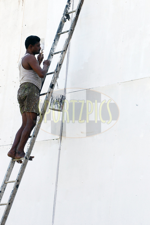 The sight screen is painted for the match during the India and England nets sessions held prior to the start of the 5th test match between India and England in Chennai held at the M. A. Chidambaram Stadium on the 15th December 2016.<br /> <br /> Photo by: Ron Gaunt/ BCCI/ SPORTZPICS