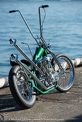 Ryan Grossman's Vintage Dreams rigid frame high bar Harley-Davidson Knucklehead at the Yokohama docks where the invited custom builder's bikes from the USA were unloaded prior to the Mooneyes Yokohama Hot Rod & Custom Show. Yokohama, Japan. December 3, 2016.  Photography ©2016 Michael Lichter.