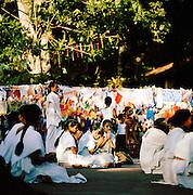 A Buddhist ceremony at a temple in Sri Lanka