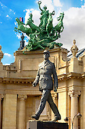 Paris - France - Nef du Grand Palais with statue of Charles De Gaulle .<br /> <br /> Visit our FRANCE HISTORIC PLACES PHOTO COLLECTIONS for more photos to download or buy as wall art prints https://funkystock.photoshelter.com/gallery-collection/Pictures-Images-of-France-Photos-of-French-Historic-Landmark-Sites/C0000pDRcOaIqj8E