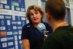 20181024 NED: CL, Sliedrecht Sport - Allianz MTV Stuttgart, Sliedrecht<br />Vera Koenen, headcoach of Sliedrecht Sport, RTV Rijnmond<br />©2018-FotoHoogendoorn.nl / Pim Waslander