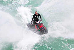 © Licensed to London News Pictures. 30/05/2015. Brighton, UK. 30/05/2015. Brighton, UK. A man is playing with a jetski in Brighton, today May 30th 2015. Photo credit : Hugo Michiels/LNP