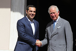 May 9, 2018 - Athens, Greece - Britain's Prince Charles, shakes hands with Greek Prime Minister Alexis Tsipras prior their meeting in Athens. The Prince of Wales, heir to the British throne, and his wife Camilla, Duchess of Cornwall are paying a three-day visit to Greece, where Charles' paternal ancestors once reigned. (Credit Image: © Aristidis Vafeiadakis via ZUMA Wire)