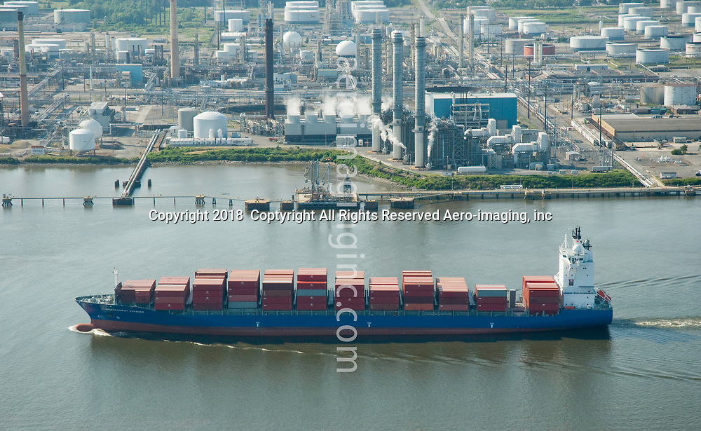Aerial view of Shipping Traffic Along the Delaware River, outside of Philadelphia
