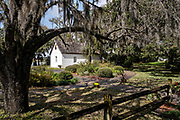 The historic Hamilton Plantation slave cabins at Gascoigne Bluff in St. Simons Island, Georgia. The cabins housed African-American slaves who worked in the cotton plantation from the early 1800's until the early 1870's.