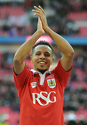 Bristol City's Korey Smith applauds the fans for their support after winning the Johnstone Paint Trophy - Photo mandatory by-line: Dougie Allward/JMP - Mobile: 07966 386802 - 22/03/2015 - SPORT - Football - London - Wembley Stadium - Bristol City v Walsall - Johnstone Paint Trophy Final