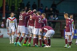 Stenhousemuir's Thomas Halleran (15) cele scoring their goal. Stenhousemuir 1 v 0 Airdrie, Scottish Football League Division One played 26/1/2019 at Ochilview Park.
