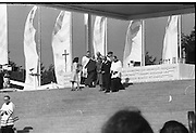 Pope John-Paul II visits Ireland..1979..29.09.1979..09.29.1979..29th September 1979..Today marked the historic arrival of Pope John-Paul II to Ireland. He is here on a three day visit to the country with a packed itinerary. He will celebrate mass today at a specially built altar in the Phoenix Park in Dublin. From Dublin he will travel to Drogheda by cavalcade. On the 30th he will host a youth rally in Galway and on the 1st Oct he will host a mass in Limerick prior to his departure from Shannon Airport to the U.S..Image of an Taoiseach and Mrs Lynch after they recieved Holy Communion.