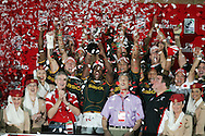 Action from the 2008-2009 opening event in the IRB World sevens series, the Emirates Airline Dubai Sevens 2008 tournament at the new Sevens Stadium in Dubai on 28th/29th November 2008. The cup final between South Africa and England. South Africa, winners of the tournament.
