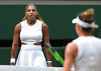 Tennis - 2019 Wimbledon Championships - Week Two, Saturday (Day Twelve)<br /> <br /> Women's Singles, Final: Serena Williams (USA) vs. Simona Halep (ROU)<br /> <br /> Serena Williams gives Halep a stare as they change ends on Centre Court.<br /> <br /> COLORSPORT/ANDREW COWIE