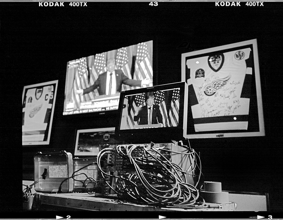 U.S. Republican presidential candidate Donald Trump is seen on a Mmonitor in Detroit, Michigan, March 3, 2016. Photo by Jim Young