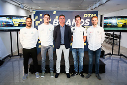 (left-right) Gary Paffett, Paul Di Resta, David Coulthard, Joel Eriksson, and Jamie Green during the DTM press activity and reception at the Hospital Club, London. PRESS ASSOCIATION Photo. Picture date: Wednesday July 18. 2017. Former F1 driver and Channel 4 commentator David Coulthard is celebrating the return of the prestigious DTM race series to the UK after a 5-year absence. Racing for the first time on the full Grand Prix circuit, the DTM championship will see touring cars from Audi, BMW and Mercedes-AMG pitted against one another on the twists and turns of the iconic Brands Hatch track on 11-12 August. Photo credit should read: Matt Alexander/PA Wire.