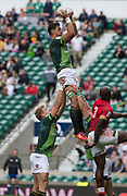 """Twickenham, Surrey United Kingdom. South Africian, Chris DAY """"takes a clean lineout ball"""" during the Pool A game, South Africa vs Kenya, during the """"2017 HSBC London Rugby Sevens"""",  Saturday 20/05/2017 RFU. Twickenham Stadium, England    <br /> <br /> [Mandatory Credit Peter SPURRIER/Intersport Images]"""