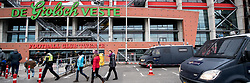 police in front of the stadium with video surveillance, video, videobus, bus, ME, Mobiele Eenheid, agent, cop, cops, agenten during the Dutch Eredivisie match between FC Twente Enschede and Willem II Tilburg at the Grolsch Veste on March 17, 2018 in Enschede, The Netherlands