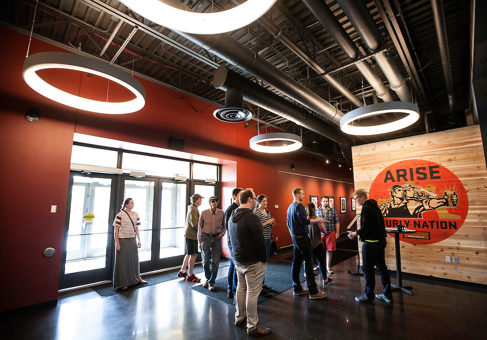 ID cards are checked at the entrance to Surly Brewing Co. in Minneapolis, MN, May 15, 2015.