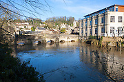 Bridge over River Avon with high level of water, Bradford on Avon, Wiltshire, England