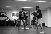 Efrain Escudero warms up backstage before his fight against Drew Dober during UFC 188 at the Mexico City Arena in Mexico City, Mexico on June 13, 2015. (Cooper Neill)