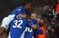 Photo: Daniel Hambury.<br /> The Coca Cola Championship.<br /> Ipswich Town V Wigan Athletic.   21/12/2004<br /> Ipswich's Fabien Wilnis celebrates with team mates after Darren Bent scored the winner