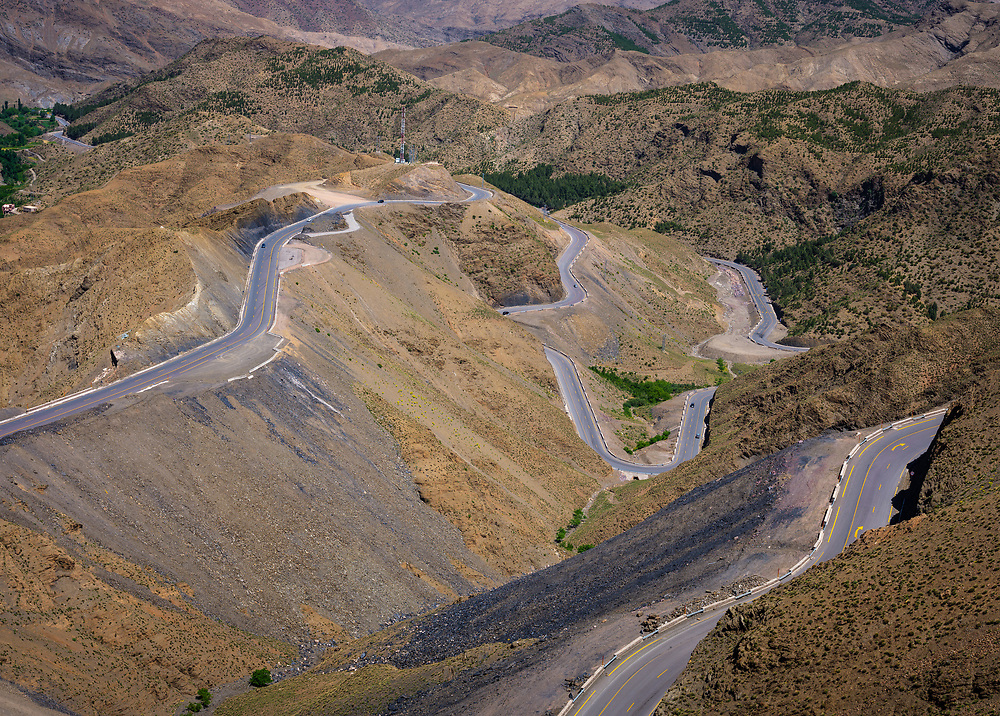 MOROCCO - CIRCA APRIL 2017: Panoramic view winding route of the Atlas Mountains.