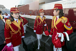 February 8, 2018 - Gangneung, Gangwon, South Korea - North Korean Cheer group members arrive before welcome ceremony at Olympic Village in Gangneung, South Korea. (Credit Image: © Gmc via ZUMA Wire)