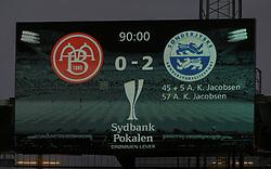 Slutresultatet på måltavlen efter finalen i Sydbank Pokalen mellem AaB og SønderjyskE den 1. juli 2020 i Blue Water Arena, Esbjerg (Foto Claus Birch).