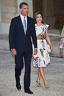 King Felipe VI of Spain, Queen Letizia of Spain attend a official reception for Authorities at the Almudaina Palace on August 7, 2016 in Palma de Mallorca, Spain