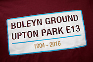 """a T-Shirt saying """"Boleyn Ground Upton Park E13"""" on sale outside Boleyn Ground before k/o. The Emirates FA cup, 6th round replay match, West Ham Utd v Manchester Utd at the Boleyn Ground, Upton Park  in London on Wednesday 13th April 2016.<br /> pic by John Patrick Fletcher, Andrew Orchard sports photography."""