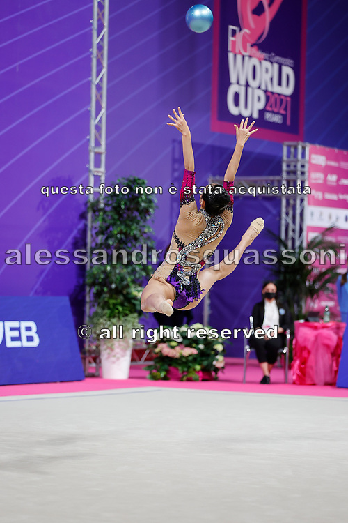 Laura Zeng during final at ball in Pesaro World Cup at Virtifrigo Arena on may 30, 2021. Laura born on October 14, 1999 in Hartford. She is a rhythmic gymnast member of the USA National Team.