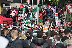 © Licensed to London News Pictures. 15/05/2021. London, UK. Free Palestine protesters gather in Kensington, central London near Israeli Embassy. Photo credit: Marcin Nowak/LNP