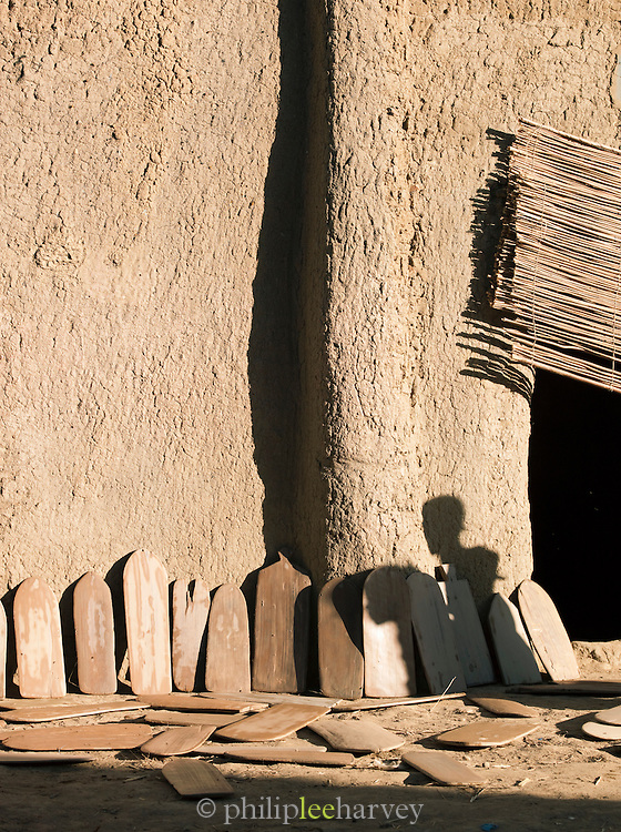 Freshly cleaned tablets used by the Koranic school in Djenné, Mali