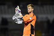 George Long (1) of AFC Wimbledon applauds, claps the travelling fans at full time after AFC Wimbledon beat Bristol Rovers 3-1 during the EFL Sky Bet League 1 match between Bristol Rovers and AFC Wimbledon at the Memorial Stadium, Bristol, England on 18 November 2017. Photo by Graham Hunt.