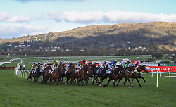 Runners take the bend in the Brandon Hill Capital Handicap Hurdle during day one of the Showcase at Cheltenham Racecourse