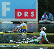 Lucerne, SWITZERLAND,  Women's Single final. . 2000 FISA World Cup, Rotsee Rowing Course, June 2000.  [Mandatory Credit, Peter Spurrier/Intersport-images]...left BLR.W1X Ekaterina KARSTEN.Right. BUL W1X Rumyana NEYKOVA 2000 FISA World Cup, Lucerne, SWITZERLAND