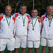 Von Cramm Cup Bronze Medal Winners, France, left to right, Patrick Proisy, Xavie Lemoine, Michel Berges and Jean-Charles Toesca during the 2009 ITF Super-Seniors World Team and Individual Championships at Perth, Western Australia, between 2-15th November, 2009.