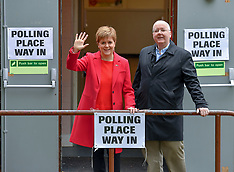 Nicola Stugeon voting in European elections, Glasgow, 23 May 2019