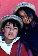 Puruhua Indian boy and his sister, Chimborazo province, Ecuador