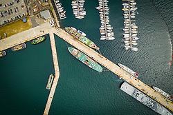 April 17, 2020: Aerial view above of Simon's Town harbor, South Africa. (Credit Image: © Amazing Aerial via ZUMA Wire)