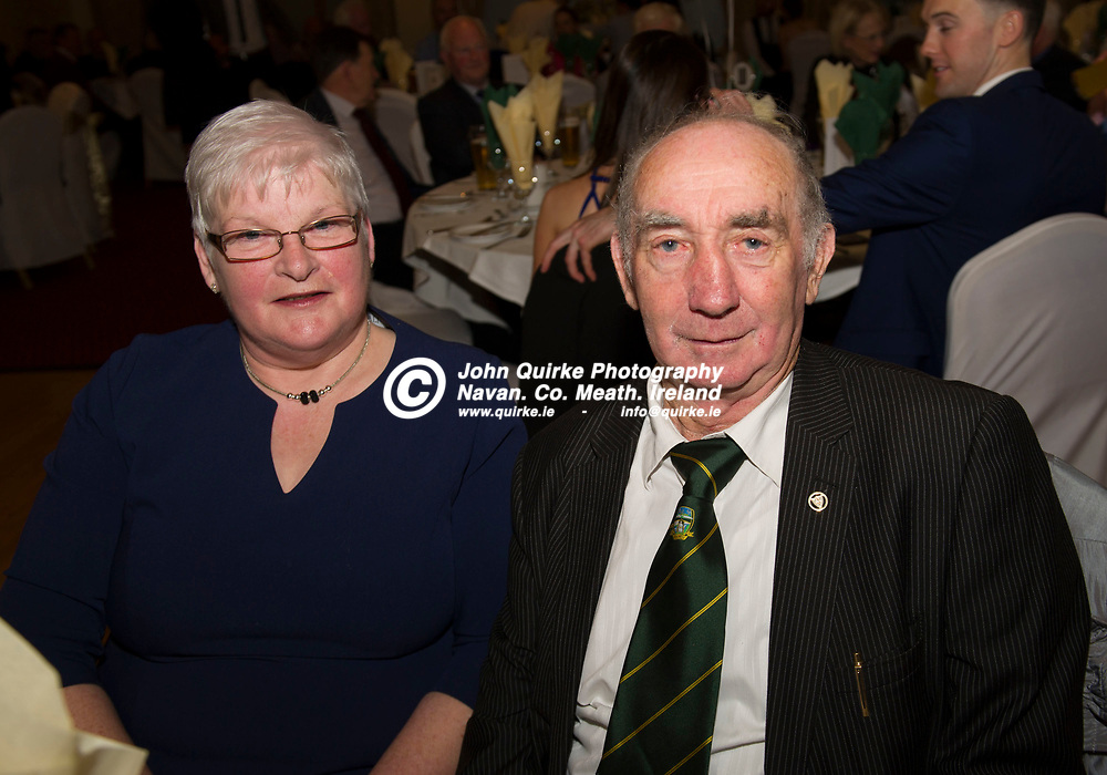 08-12-19. Meath GAA Annual Sponsors Night and Awards Presentation 2019 at the Castle Arch Hotel, Trim.<br /> Liz and Barney Allen.<br /> Photo: John Quirke / www.quirke.ie<br /> ©John Quirke Photography, Unit 17, Blackcastle Shopping Cte. Navan. Co. Meath. 046-9079044 / 087-2579454.