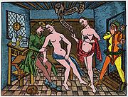 Brothel scene. Woodcut c1500.