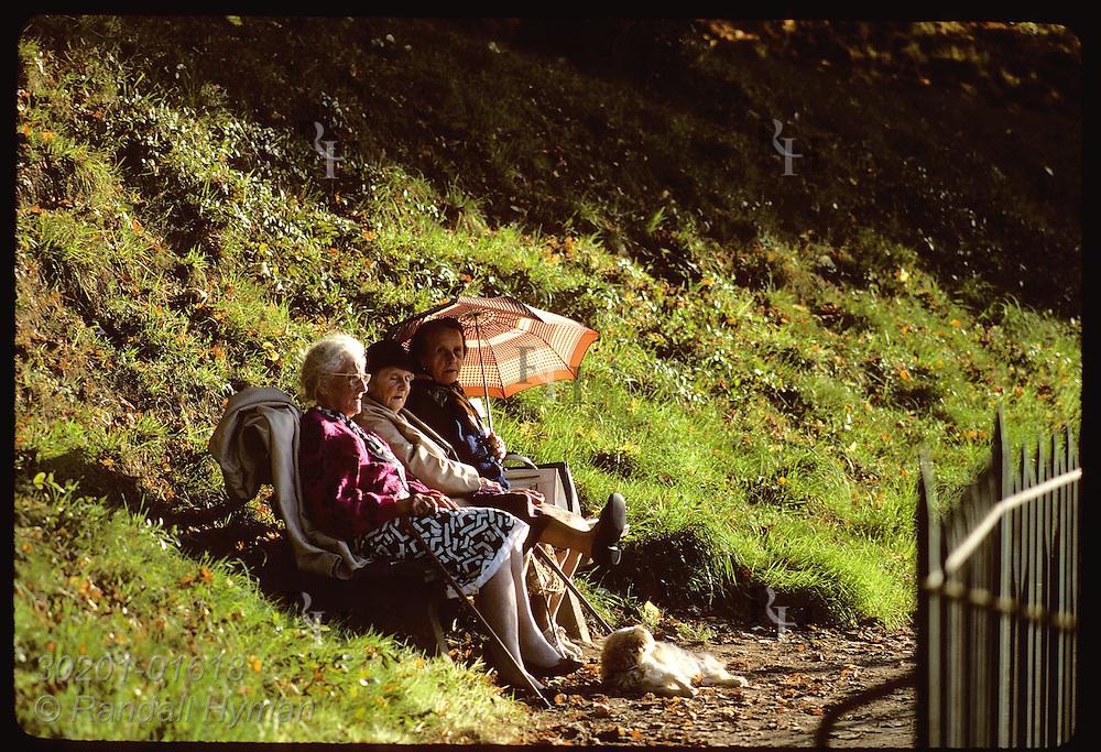Three elderly women sit on bench in park w/ sun umbrella and pet dog; Vannes, Brittany. France