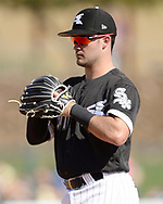 GLENDALE, ARIZONA - MARCH 02:  Eddy Alvarez #91 of the Chicago White Sox fields against the Colorado Rockies on March 2, 2019 at Camelback Ranch in Glendale Arizona.  (Photo by Ron Vesely)  Subject:  Eddy Alvarez